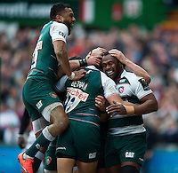 Leicester Tigers players celebrate Vereniki Goneva's first half try. European Rugby Champions Cup quarter final, between Leicester Tigers and Stade Francais on April 10, 2016 at Welford Road in Leicester, England. Photo by: Patrick Khachfe / JMP