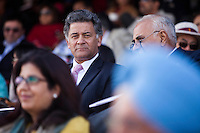 Nik Senapati (center), Managing Director of Argyle Diamonds, watches the game, from the upper pavilion, between the Royal Jaipur Polo Team and the Western Australia Polo Team for the Argyle Pink Diamond Cup, organised as part of the 2013 Oz Fest in the Rajasthan Polo Club grounds in Jaipur, Rajasthan, India on 10th January 2013. Photo by Suzanne Lee