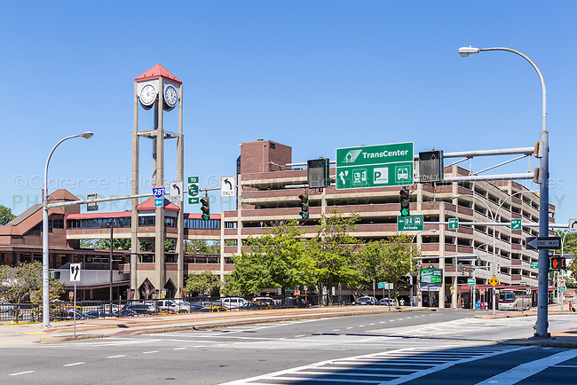 The White Plains Metro-North Railroad station and TransCenter parking lot in White Plains, New York.