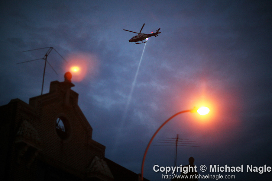 BROOKLYN --  JULY 09, 2007:  An NYPD helicopter monitors the scene at Rogers and Lefferts, where two NYPD officers were shot early this morning, on July 9, 2007 in New York City.  (PHOTOGRAPH BY MICHAEL NAGLE)