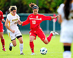 14 October 2010: University of Hartford Hawks defender Michele DeSanti, a Junior from Meriden, CT, in action against the University of Vermont Catamounts at Centennial Field in Burlington, Vermont. The Hawks defeated the Lady Cats 6-2 in America East play. Mandatory Credit: Ed Wolfstein Photo