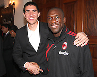 Andrew Quinn of DC United with Clarence Seedorf of AC Milan at a reception for AC Milan at DAR Constitution Hall in Washington DC on May 24 2010.
