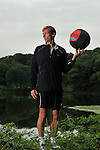 Ralf Hennig, personal trainer, working out with his Performance Ball, in Rockefeller Preserve State Park, Westchester, New York