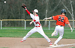 WOLCOTT CT. 17 April 2017-041517SV09-#22 Justin Guerrera of Watertown beats the throw to #30 Sean Overton of Wolcott at first in the 1st inning during NVL baseball action in Wolcott Monday. <br /> Steven Valenti Republican-American