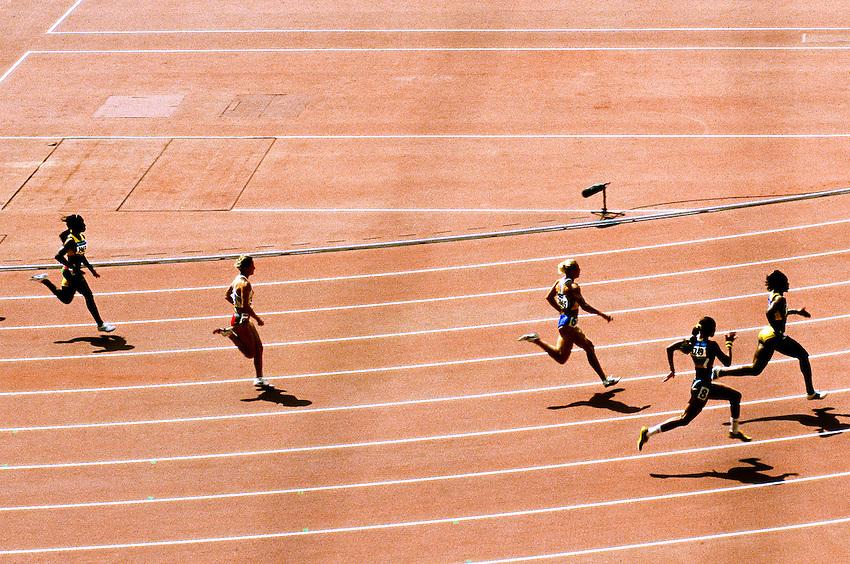 Olympic Games Athletics Day 11<br /> Women's 200m round 1 Heat 6 in the National Olympic Stadium<br /> In the olympic Bird's nest, the women's 200m race round 1, Heat 6 of the olympic games of Beijing, morning of the August 19 2008. In the foreground, number 8 Dos Santos Evelyn (Brazil), n&deg;7 Jones Ferrette-Laverne (Virgin Isl), n&deg;6 Pygyda Nataliia (Ukraine), n&deg;5 Jeschke Martha (Poland), n&deg;3 George Allison (Grenada). Nataliia Pygyda was the fastest qualifier, winning her heat and the round in 22.91 sec.<br /> High Resolution available