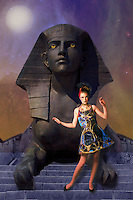 Fantasy Art - creative fantasy fashion image with sphinx in the background.