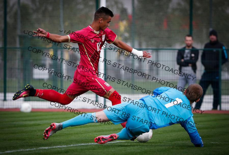 Fudbal Soccer<br /> International Friendly-Prijateljski mec<br /> Srbija U17 v Belorusiaj U17<br /> Milutin Vidosavljevic (L)<br /> Stara Pazova, 20.09.2016<br /> foto: Srdjan Stevanovic/Starsportphoto &copy;