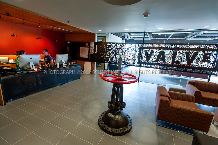 8/2/2012--Bellevue, WA, USA..Valve Software's offices in Bellevue, WASH., just east of Seattle. A large Valve, most likely from an oil refinery, sits on the lobby entrance...©2012 Stuart Isett. All rights reserved.