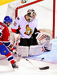 22 March 2010: Ottawa Senators' goaltender Brian Elliott makes a third period save against the Montreal Canadiens at the Bell Centre in Montreal, Quebec, Canada. The Senators shut out the Canadiens 2-0 in their last meeting of the regular season. Mandatory Credit: Ed Wolfstein Photo