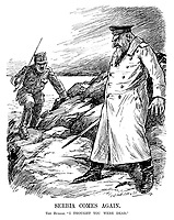 """Serbia Comes Again. The Bulgar. """"I thought you were dead."""" (Ferdinand I of Bulgaria prepares to face Serbia again during WW1)"""