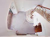 Custom Art Nouveau foyer floor in Travertine White, Renaissance Bronze, Crema Marfil, Red Lake, Aegean Brown, Rosa Verona, Giallo Reale, Breccia Pernice.
