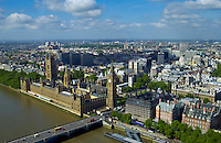 Aerial view of landmarks Big Ben, the Houses of Parliament, River Thames, Westminster Bridge, London, UK