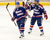 Derek Arnold (UML - 29), Josh Holmstrom (UML - 12) - The Boston College Eagles defeated the visiting University of Massachusetts Lowell River Hawks 6-3 on Sunday, October 28, 2012, at Kelley Rink in Conte Forum in Chestnut Hill, Massachusetts.