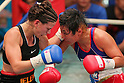 (L to R) Jelena Mrdjenovich (CAN), Fujin Raika (JPN), SEPTEMBER 22, 2011 - Boxing : Jelena Mrdjenovich of canada hits Fujin Raika during the WBC Female Super Feather weight final Elimmination bout at Korakuen, Tokyo, Japan. Jelena Mrdjenovich won the fight on points after ten rounds. (Photo by Yusuke Nakanishi/AFLO) [1090]