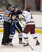Sean Kliewer (Toronto - 4), Jimmy Hayes (BC - 10) - The Boston College Eagles defeated the visiting University of Toronto Varsity Blues 8-0 in an exhibition game on Sunday afternoon, October 3, 2010, at Conte Forum in Chestnut Hill, MA.