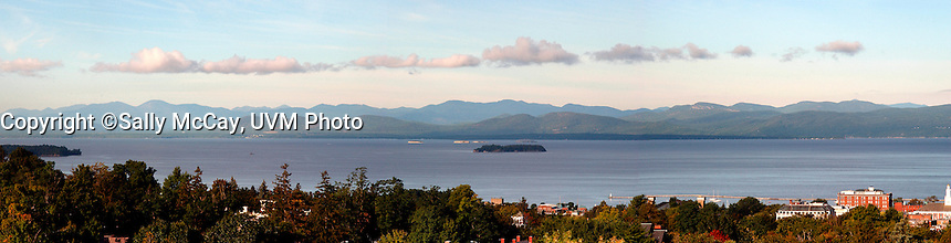 View of Burlington and Lake Champlain, Fall. Panorama