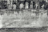 Memorials in Arnos Vale Cemetery in Bristol, processed to emulate wet plate technique.