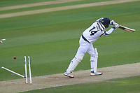 James Vince is bowled out by Jamie Porter during Essex CCC vs Hampshire CCC, Specsavers County Championship Division 1 Cricket at The Cloudfm County Ground on 20th May 2017