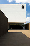Photo shows a detail of the courtyard of B1F floor at the Aomori Museum of Art in Aomori City, Aomori Prefecture, Japan on 11 July, 2001. The building was designed by Jun Aoki, the inspiration coming from the nearby Sannai Maruyama archeological site. .Photographer: Robert Gilhooly