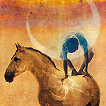 Mystical figure balanced on a white horse with the sun and moon.
