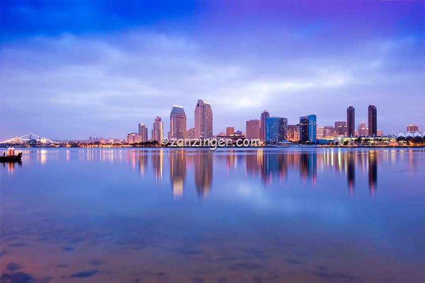 San Diego California, Downtown, Skyline, Twilight, Panorama High dynamic range imaging (HDRI or HDR)