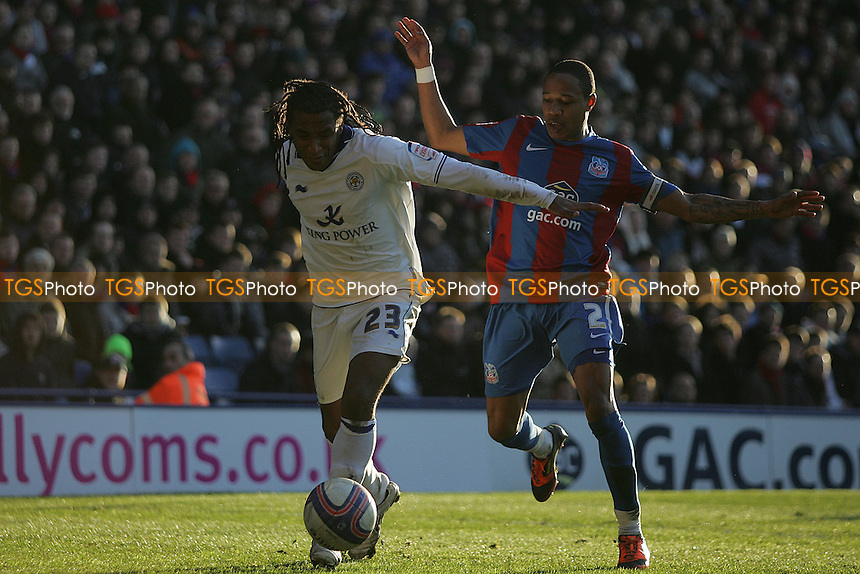 Neil Danns (Leicester City) holds off Nathaniel Clyne (Crystal Palace) - Crystal Palace vs Leicester City - nPower Championship Football at Selhurst Park Stadium, London - 02/01/12 - MANDATORY CREDIT: George Phillipou/TGSPHOTO - Self billing applies where appropriate - 0845 094 6026 - contact@tgsphoto.co.uk - NO UNPAID USE.