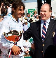 Prince Albert of Monaco and Rafael Nadal after the match between Rafael NADAL (ESP) and Fernando VERDASCO (ESP) in the final. Rafael Nadal beat Fernando Verdasco 6-0 6-1..International Tennis - 2010 ATP World Tour - Masters 1000 - Monte-Carlo Rolex Masters - Monte-Carlo Country Club - Alpes-Maritimes - France..© AMN Images, Barry House, 20-22 Worple Road, London, SW19 4DH.Tel -  + 44 20 8947 0100.Fax - + 44 20 8947 0117