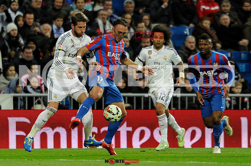 Real Madrid´s Sergio Ramos and Levante UD´s Jordi Xumetra Feliu during 2014-15 La Liga match between Real Madrid and Levante UD at Santiago Bernabeu stadium in Madrid, Spain. March 15, 2015. (ALTERPHOTOS/Luis Fernandez) /NORTEphoto.com