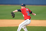 Ole Miss' Brett Huber (38) pitches at Oxford-University Stadium in Oxford, Miss. on Sunday, March 6, 2010. Tulane won 3-1.