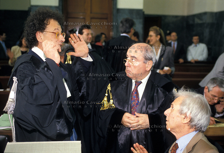 27 MAG 1994 Milano, processo AEM GHERARDO COLOMBO E GIANNINO GUISO<br /> MAY 27 1994 Milan, AEM trial, GHERARDO COLOMBO, GIANNINO GUISO