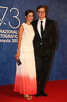 Colin Firth and Livia Giuggioli attend the premiere of 'Franca: Chaos And Creation' during the 73rd Venice Film Festival at Sala Giardino on September 2, 2016 in Venice, Italy.<br /> CAP/GOL<br /> &copy;GOL/Capital Pictures /MediaPunch ***NORTH AND SOUTH AMERICAS ONLY***