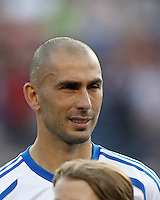 Montreal Impact forward Marco Di Vaio (9). In a Major League Soccer (MLS) match, Montreal Impact defeated the New England Revolution, 1-0, at Gillette Stadium on August 12, 2012.