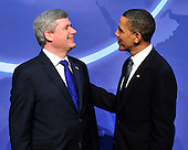 United States President Barack Obama welcomes Prime Minister Stephen Harper of Canada to  the Nuclear Security Summit at the Washington Convention Center, Monday, April 12, 2010 in Washington, DC. .Credit: Ron Sachs / Pool via CNP