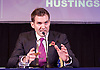 UKIP <br /> Leadership hustings <br /> at the Emanuel Centre, London, Great Britain <br /> 1st November 2016 <br /> <br /> the first leadership hustings before the election on 28th November 2016 <br /> <br /> <br /> John Rees-Evans<br /> who had clearly written pointers for his speech on his hand! <br /> <br /> <br /> <br /> Photograph by Elliott Franks <br /> Image licensed to Elliott Franks Photography Services