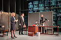 Hampstead Theatre presents HAPGOOD, by Tom Stoppard, directed by Howard Davies. Picture shows: Lisa Dillon (Hapgood), Tim McMullan (Blair), Gerald Kyd (Ridley)