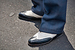 A man in the New York City Easter Parade wearing vintage shoes