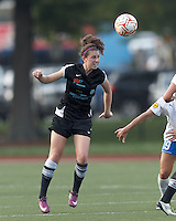 New England Mutiny midfielder Morgan Andrews (14) heads the ball. In a Women's Premier Soccer League Elite (WPSL) match, the Boston Breakers defeated New England Mutiny, 4-2, at Dilboy Stadium on June 20, 2012.