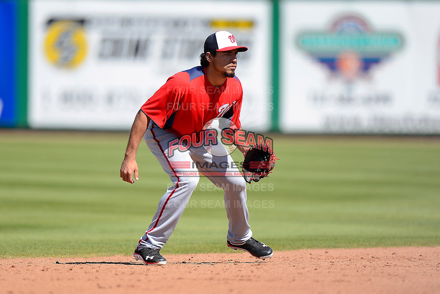 Washington Nationals shortstop Anthony Rendon #6 during a Spring Training game against the Philadelphia Phillies at Bright House Field on March 6, 2013 in Clearwater, Florida.  Philadelphia defeated Washington 6-3.  (Mike Janes/Four Seam Images)