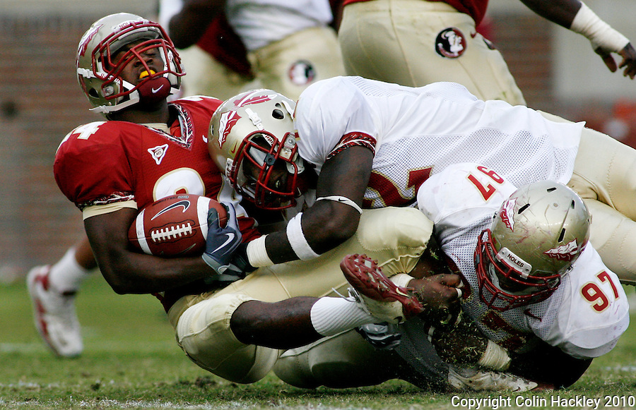TALLAHASSEE, FL 4/10/10-FSU-SPRING FB10 CH-Garnet's Lonnie Pryor is taken down by Gold's Nigel Carr, top and Demonte McAllister during second half Spring Game action Saturday at Doak Campbell Stadium in Tallahassee. .COLIN HACKLEY PHOTO