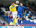 Inverness Caledonian Thistle v St Johnstone...27.10.12      SPL.Gary Miller outjumps Billy McKay.Picture by Graeme Hart..Copyright Perthshire Picture Agency.Tel: 01738 623350  Mobile: 07990 594431