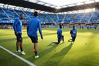 San Jose, CA - Wednesday May 17, 2017: Victor Bernardez, Fatai Alashe prior to a Major League Soccer (MLS) match between the San Jose Earthquakes and Orlando City SC at Avaya Stadium.