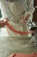 Home made beetroot tagliatelle