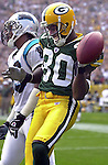 Green Bay's Donald Driver celebrates a 31-yard touchdown catch from Tightend Bubba Franks. .The Green Bay Packers hosted the Carolina Panthers Sunday September 29, 2002, at Lambeau Field. WSJ/Steve Apps.