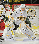 9 February 2008: University of Vermont Catamounts' goaltender Kristen Olychuck, a Sophomore from Kelowna, British Columbia, in action against the Boston University Terriers at Gutterson Fieldhouse in Burlington, Vermont. The Terriers shut out the Catamounts 2-0 in the Hockey East matchup...Mandatory Photo Credit: Ed Wolfstein Photo