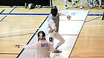 11 February 2017: Duke's Will Feldman (right) competes against MIT's Arjen Gupta (left) in Foil. The Duke University Blue Devils hosted the Massachusetts Institute of Technology Engineers at Card Gym in Durham, North Carolina in a 2017 College Men's Fencing match. Duke won the dual match 19-8 overall, 7-2 Foil, 6-3 Epee, and 6-3 Saber.