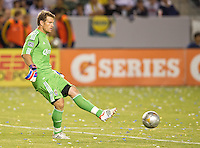 CARSON, CA - July 21, 2012: Chivas USA goalie Dan Kennedy (1) during the LA Galaxy vs Chivas USA match at the Home Depot Center in Carson, California. Final score LA Galaxy 3, Chivas USA 1.
