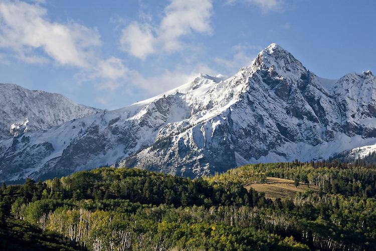 Snow covers Mt. Sneffels in the Mt. Sneffels Wilderness area near Dallas Divide