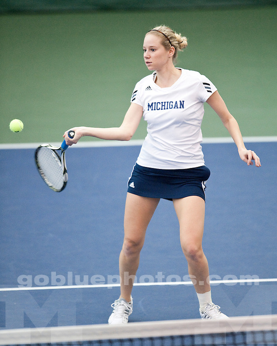 The University of Michigan women's tennis team defeats the University of Auburn 7-0 at the Varsity Tennis Center in Ann Arbor, Mich. on January 29, 2011.