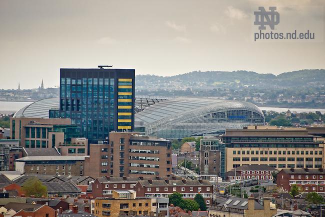 Dublin: Google headquarters (dark building) and Aviva Stadium..Photo by Matt Cashore/University of Notre Dame