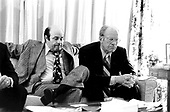 United States President Gerald R. Ford watches election returns with Joe Garagiola in the White House residence in Washington, D.C. on November 2, 1976.  <br /> Mandatory Credit: David Hume Kennerly / White House via CNP